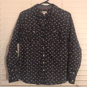 Navy Blue, Button Down with Swan Design